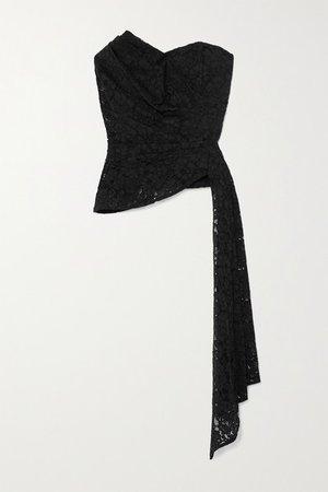 Selima Draped Cotton-blend Corded Lace Bustier Top - Black