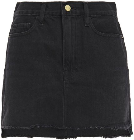 Le Mini Frayed Denim Mini Skirt