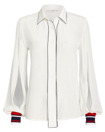 Isako Silk Button Front Blouse