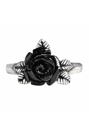 Token of Love Black Rose Ring by Alchemy Gothic | Gothic