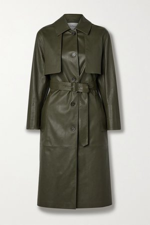Army green Paneled leather trench coat | Salvatore Ferragamo | NET-A-PORTER