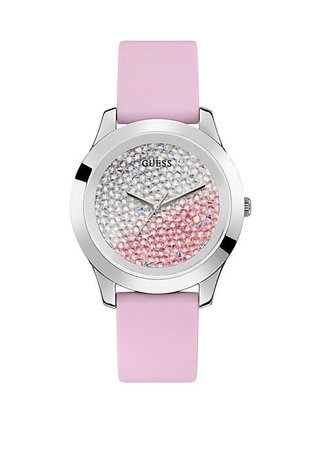 GUESS® Stainless Steel Crushed Swarovski Crystal Dial Watch