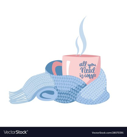 Pink mug with coffee wrapped light blue magenta Vector Image