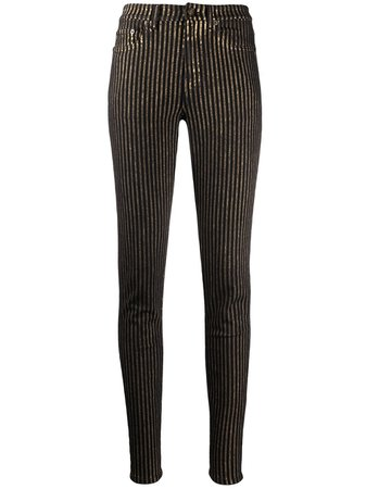 Saint Laurent Metallic Striped Skinny Jeans