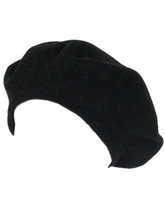 Wool Beret Hat Cap Black