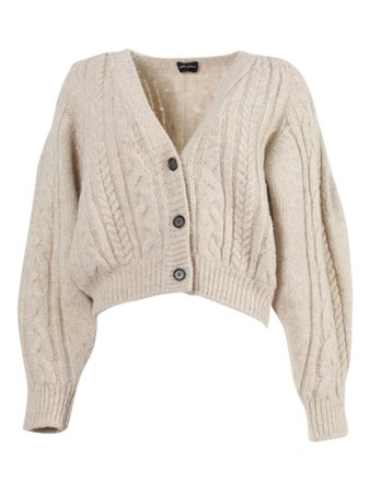 Beige Cropped Cardigan Sweater