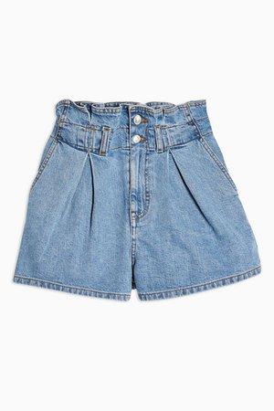 High Waist Paperbag Waist Denim Shorts   Topshop