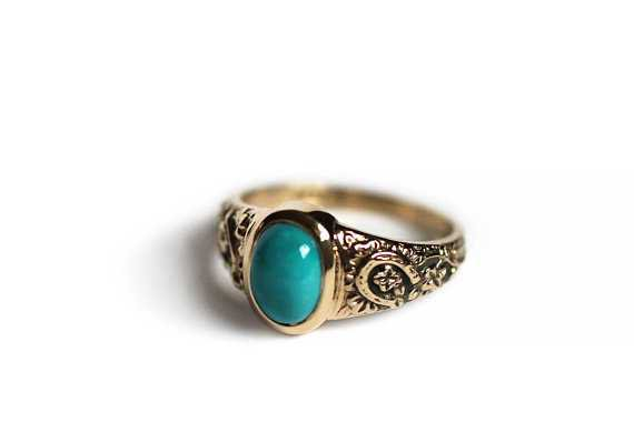 Periapt 14k Gold Turquoise Lucky Charm Ring Victorian