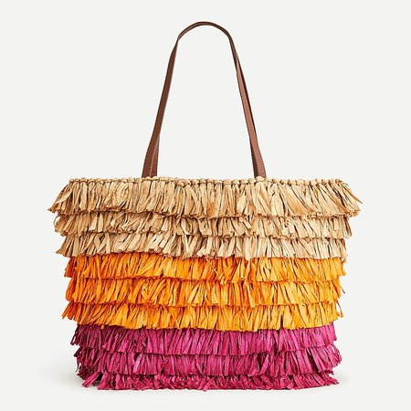 J.Crew: Large Straw Tote With Fringe For Women multi