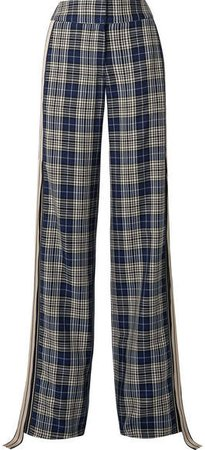 Grosgrain-trimmed Checked Woven Wide-leg Pants - Navy