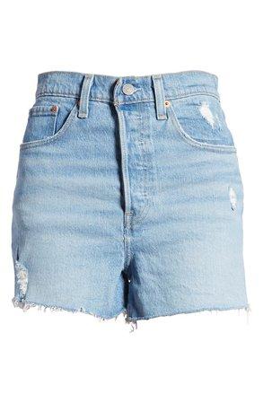 Levi's® Ribcage High Waist Distressed Raw Hem Denim Shorts (Tango Beach) | Nordstrom
