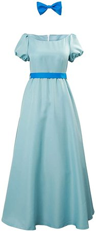 Amazon.com: Wendy Cosplay Dress Costume Halloween Princess Fancy Maxi Blue Dress for Women Kids: Clothing
