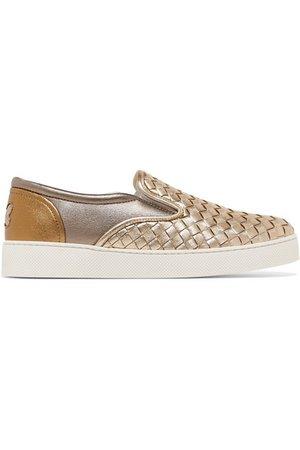 Bottega Veneta | Two-tone metallic intrecciato leather sneakers | NET-A-PORTER.COM