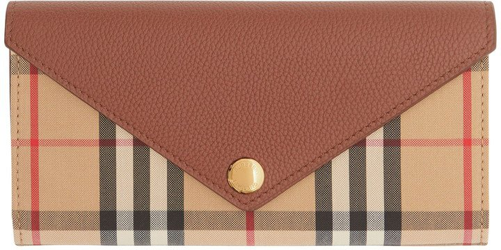 Halston Check Canvas & Leather Wallet