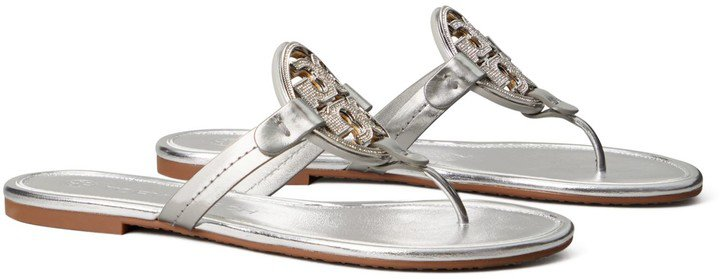 Miller Embellished-Logo Sandal, Metallic Leather