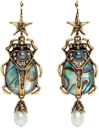 Purple & Gold Beetle Earrings