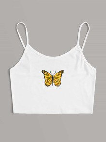 Butterfly Print Crop Cami Top | SHEIN USA
