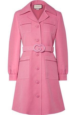 Gucci | Belted wool and silk-blend cady mini dress | NET-A-PORTER.COM