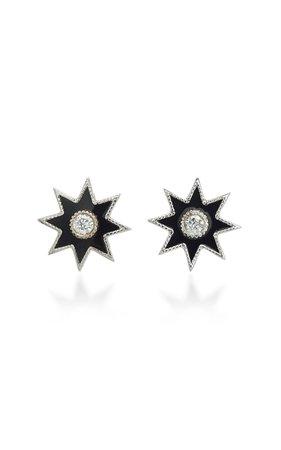 Twinkle Star 18K White Gold, Diamond And Enamel Earrings by Colette Jewelry | Moda Operandi