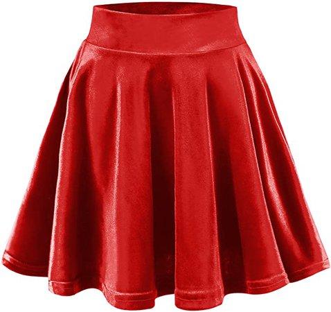 Urban CoCo Women's Vintage Velvet Stretchy Mini Flared Skater Skirt (M, Bright red) at Amazon Women's Clothing store