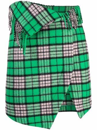 The Attico check-pattern Asymmetric Mini Skirt