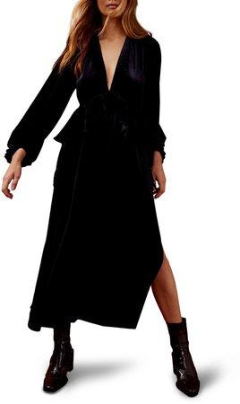 Deep Double-V Long Sleeve Velvet Dress