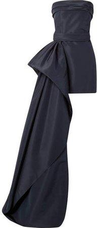 Asymmetric Draped Silk-faille Mini Dress - Navy