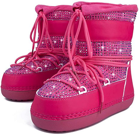 Amazon.com | Cape Robbin Freeze Warm Winter Boots for Women Girls, Lace Up Snow Moon Boots, Ladies Sparkly Winter Boots - Nude Size 7 | Snow Boots