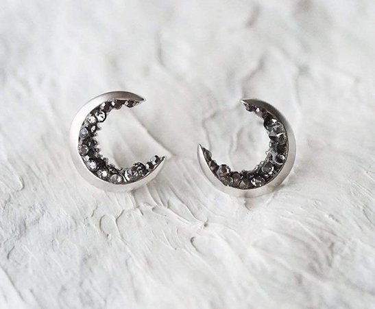 Amazon.com: Silver Plated Crescent Moon Stud Earrings: Handmade
