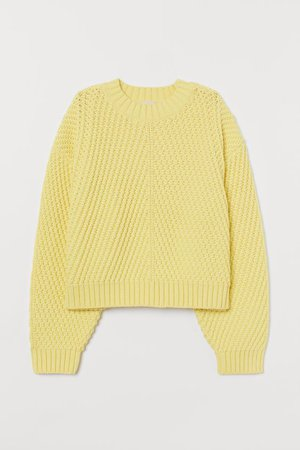 Textured-knit Sweater - Light yellow - Ladies | H&M US