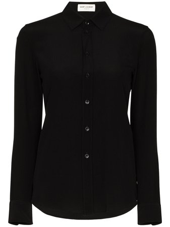 Shop Saint Laurent classic collar silk shirt with Express Delivery - FARFETCH