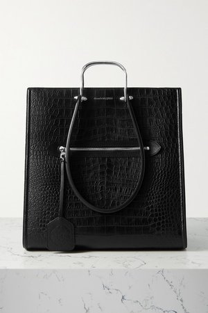 The Tall Story Large Croc-effect Leather Tote - Black