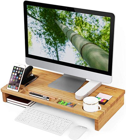 Amazon.com: SONGMICS Monitor Stand Riser with Storage Organizer Office Computer Desk Laptop Cellphone TV Printer Stand Desktop Container Bamboo Wood Natural ULLD201: Home & Kitchen