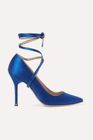 Bright blue + Manolo Blahnik satin pumps | Vetements | NET-A-PORTER