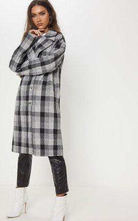 Black/White Checked Coat | Coats & Jackets | PrettyLittleThing