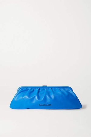 Cloud Large Printed Textured-leather Clutch - Blue