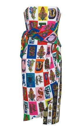 Versace Graphic Print Strapless Dress