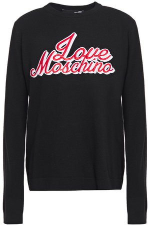 Black Crystal-embellished embroidered kknitted sweater | Sale up to 70% off | THE OUTNET | LOVE MOSCHINO | THE OUTNET
