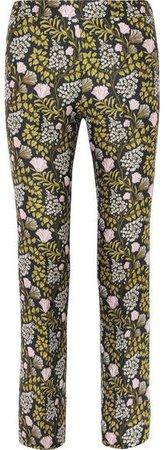 Floral-jacquard Slim-leg Pants - Black