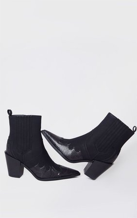 Black Contrast Western Ankle Boots   PrettyLittleThing USA