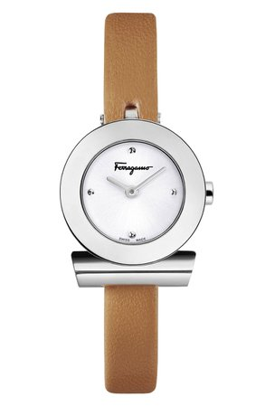 Salvatore Ferragamo Gancino Leather Bracelet Watch, 22mm | Nordstrom