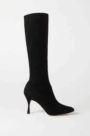 Pamfilo Stretch-suede Knee Boots - Black
