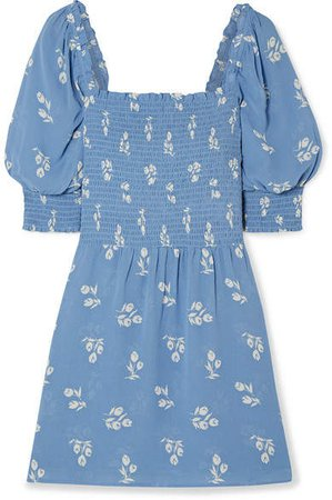 Elle Shirred Floral-print Georgette Mini Dress - Blue
