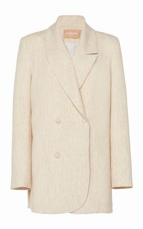 Oversized Double-Breasted Woven Blazer by MATÉRIEL | Moda Operandi