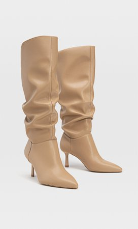 BEIGE High heel slouched boots - Women's Just in | Stradivarius United States