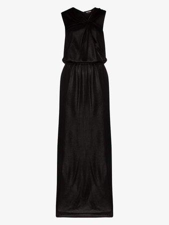 Asymmetric Halterneck Silk Evening Gown