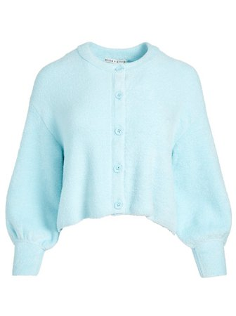 SYLVIE FUZZY CROPPED CARDIGAN in POWDER BLUE | Alice and Olivia
