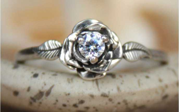 silver rose promise ring