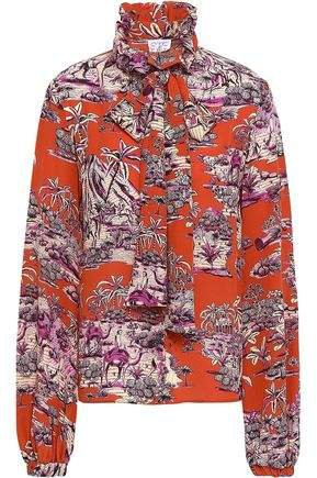 Pussy-bow Printed Silk Crepe De Chine Blouse