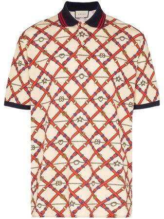 Gucci Belt Logo Print Polo Shirt